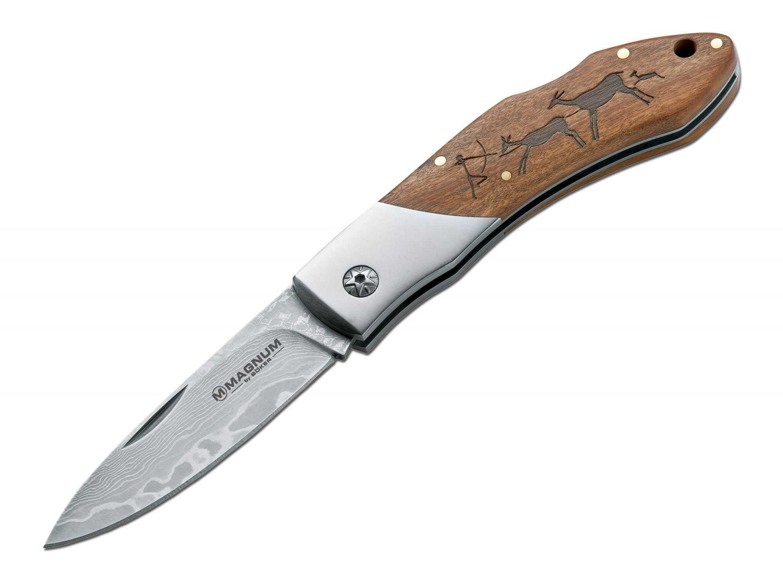 Kapesní nůž Magnum Böker Caveman Damast 01RY818DAM Damascus Damašková Damaškový Damašek Böker - Solingen