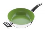 Nerezová pánev s keramickým nepřilnavým povrchem CERAMMAX PRO COMFORT , 26cm/3.5l, vysoká 8cm, zelená keramika , wok , česká pánev Kolimax Wok s rukojetí a úchytem
