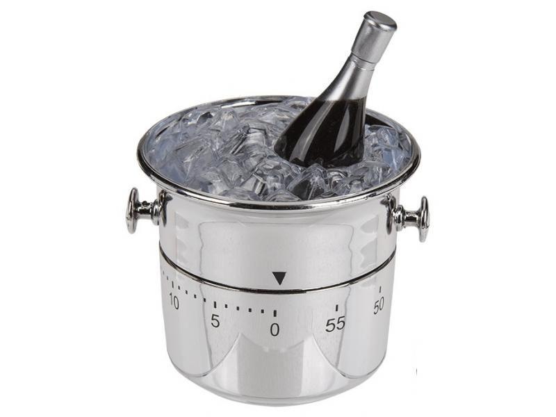 Kuchyňská minutka chlazené Champagne v kyblíku s ledem, šampaňské, časovač do kuchyně, stopky, minutník