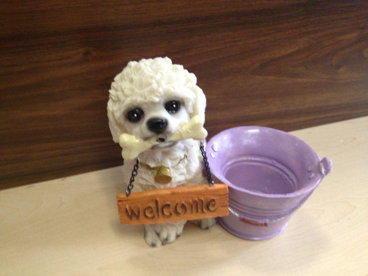 Pes Pudl květináč - štěkající s pohybovým čidlem- soška, dekorace - Pudl, pudlík, pudlíček