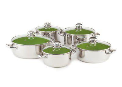 10- ti dílná sada nerezového nádobí s keramickým nepřilnavým povrchem CERAMMAX PRO STANDARD - 10 dílů, zelená keramika , Kolimax , český výrobek - Doprava zdarma