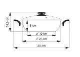 Nerezová pánev s keramickým nepřilnavým povrchem CERAMMAX PRO COMFORT , 26cm/3.5l, vysoká 8cm, černá keramika , wok , česká pánev Kolimax