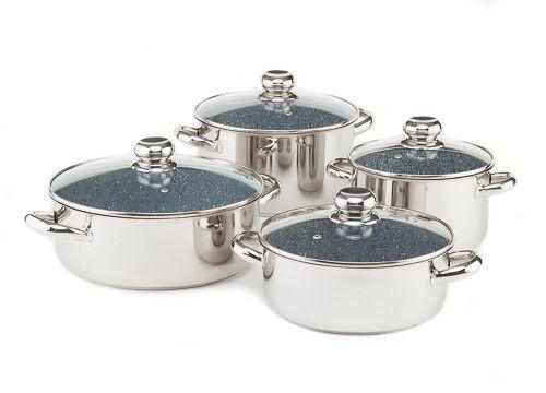 CERAMMAX PRO STANDARD Sada nádobí se skleněnými poklicemi, 8 dílů, barva granit šedá