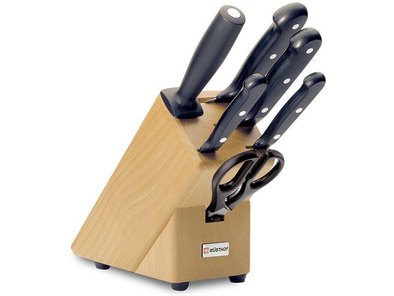 Blok s noži 6 dílů Gourmet - Wüsthof Dreizack Solingen 9867-2 , sada nožů s blokem , nůžky, ocilka Wüsthof Solingen