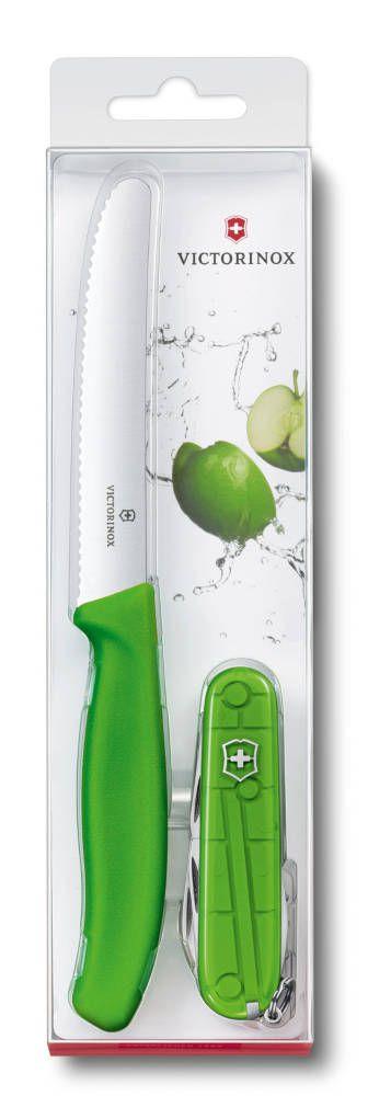 Dvojčata Victorinox Set Spartan a nůž na rajčata - zelený 1.8901.L4 - twins Limitovaná edice 2016 jablko