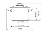 Hrnec se skleněnou poklicí, 22cm / 4,5 l Kolimax Professional nerezový - český výrobek , české nádobí profesional