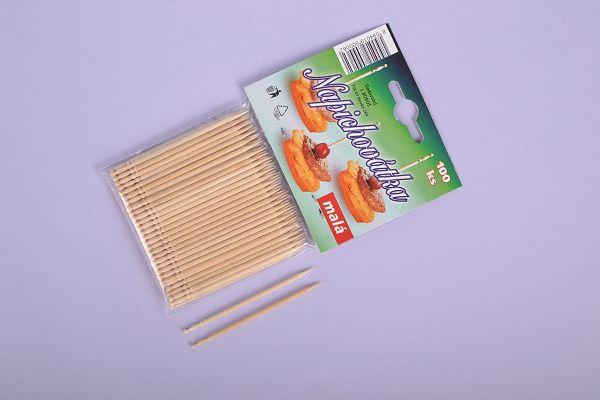Napichovátka malá - 7cm - 100ks - 100 kusů napichovátka na jednohubky dřevená - silvestr , oslavy , rauty Plastimex