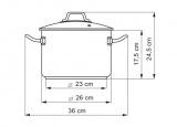 Hrnec se skleněnou poklicí, 26cm / 8,0 l Kolimax Professional nerezový - český výrobek , české nádobí profesional