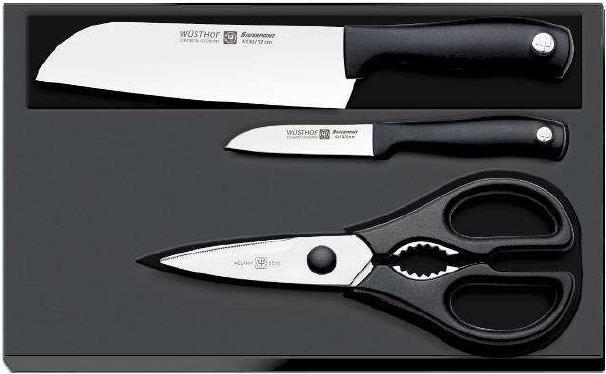 Sada nožů s nůžkami Silverpoint Wüsthof Dreizack Solingen - 8009 - original set - souprava - nože a nůžky - nůž Santoku - kuchyňské nůžky - nůž na zeleninu - kuchyňská souprava Wüsthof Solingen