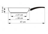 KOLIMAX Pánev s mramorovým povrchem MRAMORA BLACK, průměr 28 cm