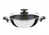 Nerezová pánev s keramickým nepřilnavým povrchem CERAMMAX PRO COMFORT , 26cm/3.5l, vysoká 8cm, černý granit keramika , wok , česká pánev Kolimax