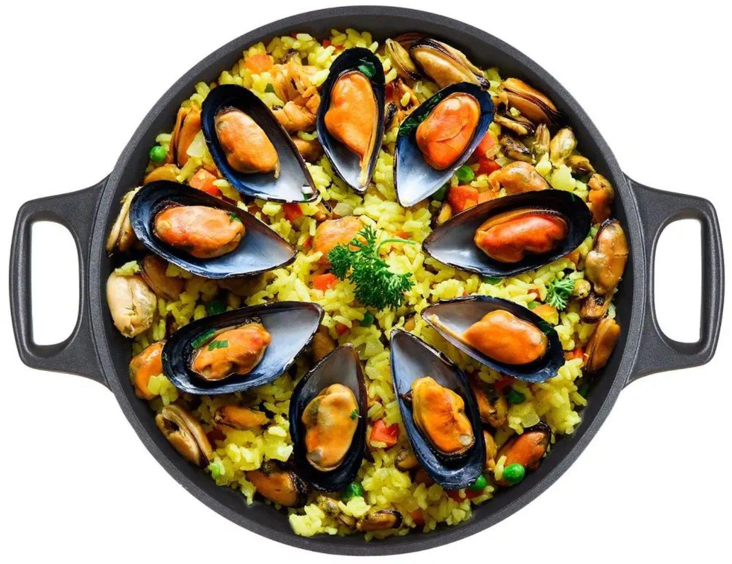 Pánev Paella s nepřilnavým povrchem ALIVIA 32 x 4,5 cm španělská pánev na španělské rizoto, na paellu Banquet