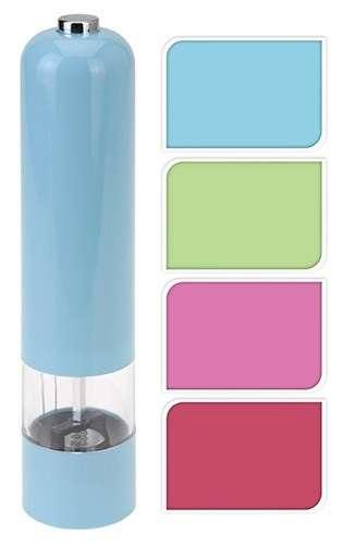 Elektrický mlýnek na pepř i sůl , el. mlýnek s keramickým mlecím mechanismem , pastelové barvy - růžový, modrý, červený EH